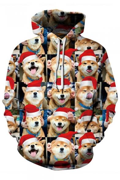 Comic Christmas Hood Shiba Inu All Over Printed Long Sleeve Hoodie