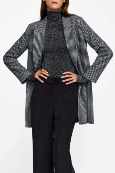 Houndstooth Notched Lapel Collar Long Sleeve Tunic Blazer