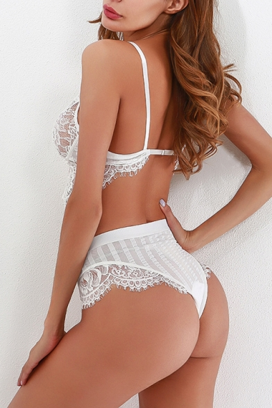 Lady Spaghetti Straps Eyelash Lace Trim Bra Top with High Waist Panty Co-ords