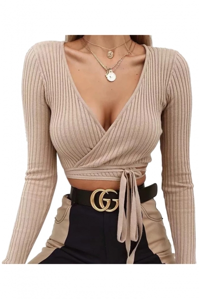Plain V Neck Long Sleeve Wrap Front Ribbed Cropped Sexy Tee