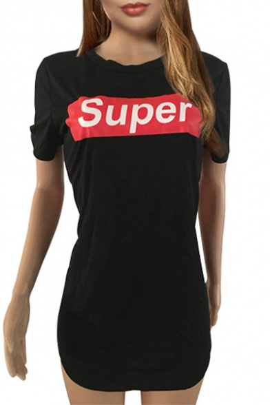 Baycheer / SUPER Letter Graphic Printed Round Neck Short Sleeve Mini T-Shirt Dress