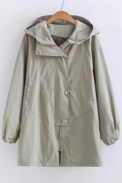Zip Up Long Sleeve Plain Trench Hooded Coat