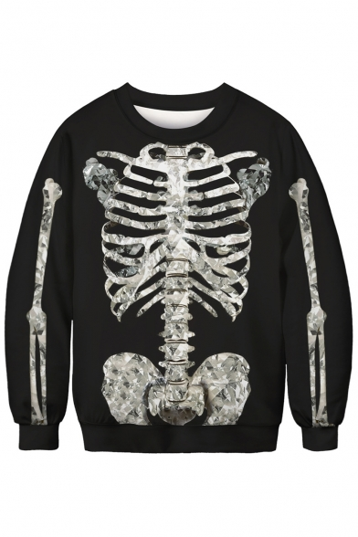 3D Skeleton Print Round Neck Long Sleeve Pullover Sweatshirt
