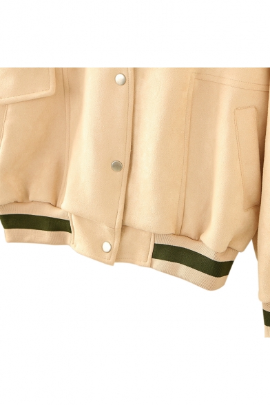 Color Block Button Front Long Sleeve Hooded Jacket with Asymmetric Pockets