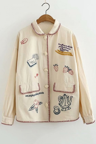 Contrast Trim Letter Strawberry Embroidered Button Front Lapel Collar Long Sleeve Jacket