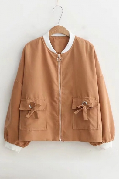 Contrast Trim Stand Collar Long Sleeve Bow Tie Detail Flap Pockets Front Zip Up Jacket