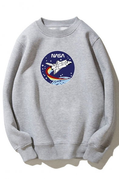 NASA Letter Plane Printed Round Neck Long Sleeve Sweatshirt