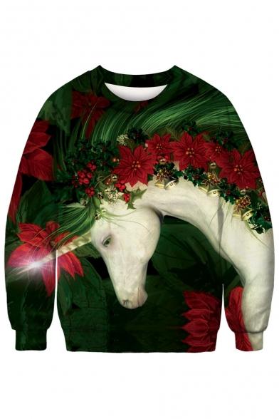 3D Fancy Unicorn Floral Printed Round Neck Long Sleeve Sweatshirt