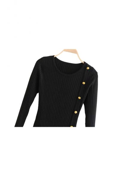 Button Embellished Ribbed Round Neck Long Sleeve Slim Ruffle Hem Midi Bodycon Dress