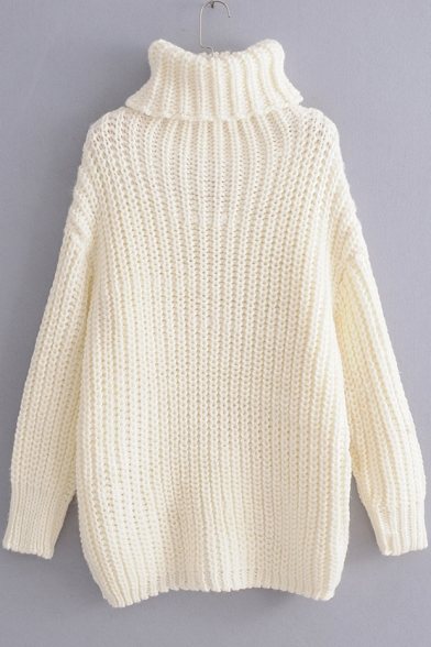 Chic High Neck Long Sleeve Plain Midi Sweater Dress