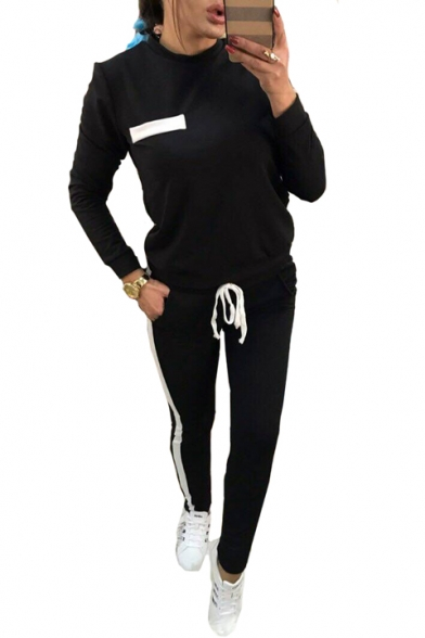 Купить со скидкой Contrast Trim Round Neck Long Sleeve Sweatshirt Drawstring Waist Slim Pants Co-ords