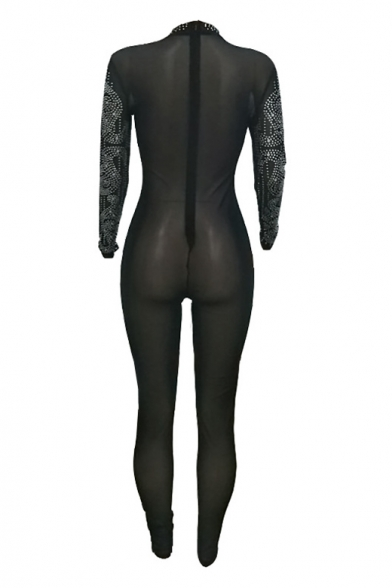 Diamante Round Neck Long Sleeve Sheer Mesh Skinny Jumpsuit