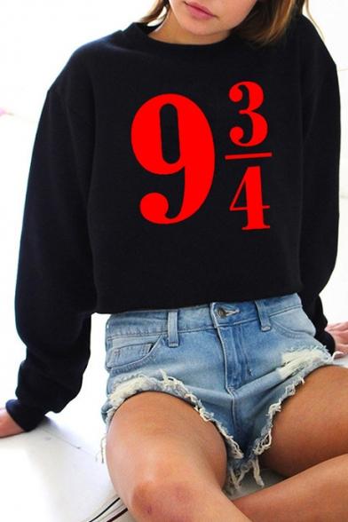Number Printed Round Neck Long Sleeve Unisex Sweatshirt
