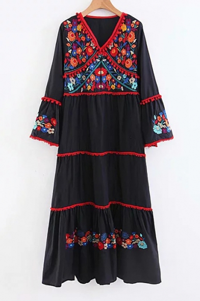 Pom Pom Embellished V Neck Long Sleeve Floral Embroidered Maxi A-Line Dress