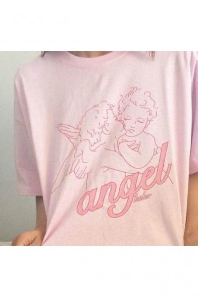 ANGEL Letter Babies Printed Round Neck Short Sleeve Tee