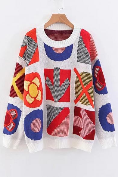 Image of Arrow Geometric Jacquard Round Neck Long Sleeve Sweater