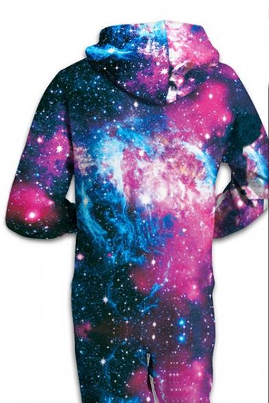 Casual Galaxy Printed Long Sleeve Loose Hooded Jumpsuit