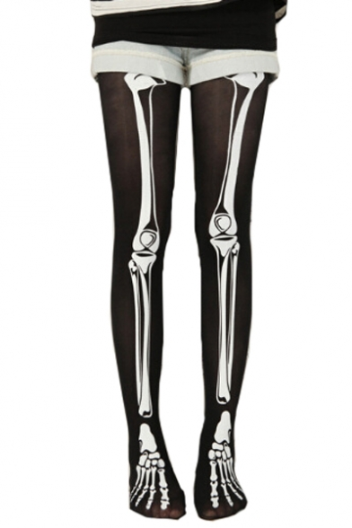 Cool Skeleton Print Skinny Pantyhose