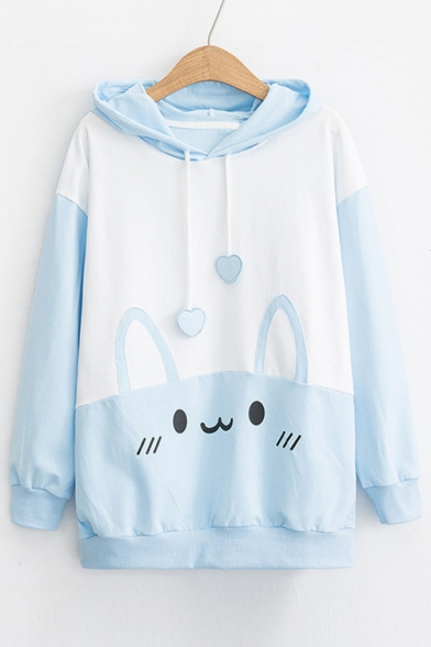 Cute Color Block Rabbit Printed Long Sleeve Casual Hoodie