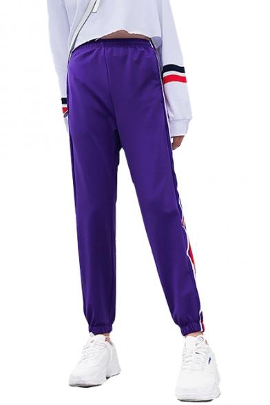 Купить со скидкой Elastic Waist Contrast Striped Side Loose Sports Pants