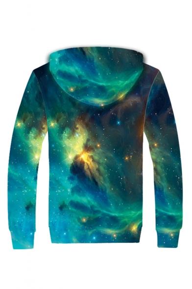 Fancy Galaxy Print Long Sleeve Zip Up Plush Lined Hoodie