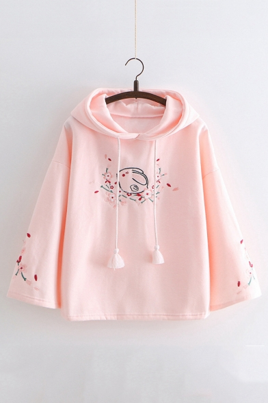 Floral Rabbit Embroidered Loose Long Sleeve Hoodie