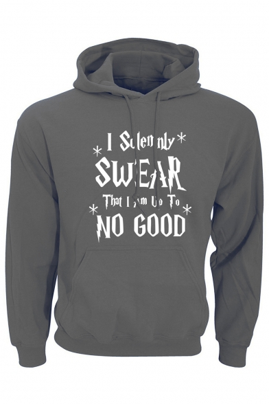 I SOLEMNLY SWEAR Letter Print Long Sleeve Casual Hoodie