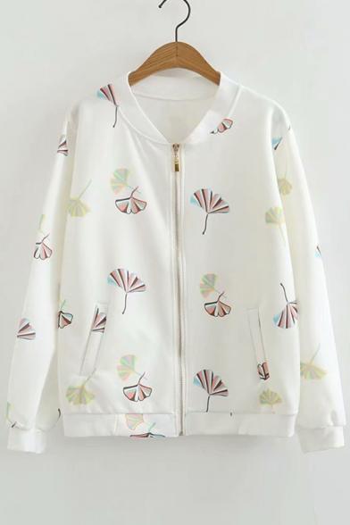 Leaf Printed Zip Closure Stand Up Collar Long Sleeve Baseball Jacket