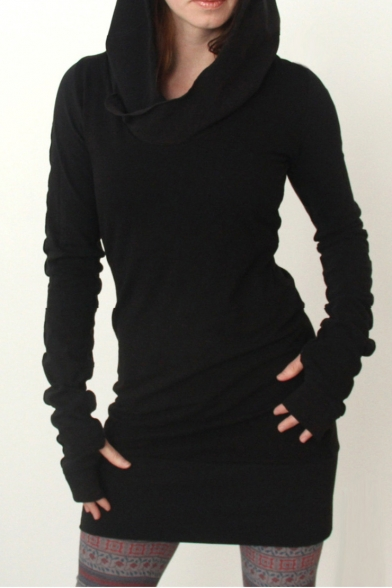 Long Sleeve Plain Slim Mini Hooded Dress