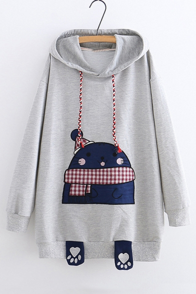 Lovely Sea Lion Embroidered Long Sleeve Tunic Hoodie