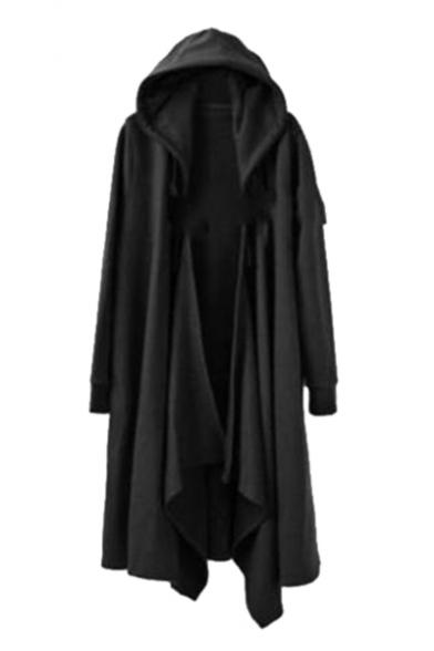 Open Front Plain Long Sleeve Asymmetric Hem Trendy Hooded Coat