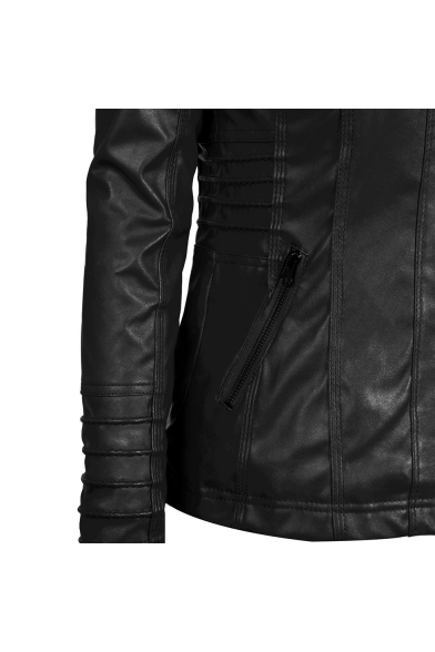Patchwork Hood Zip Closure Long Sleeve Cool Leather Hooded Jacket