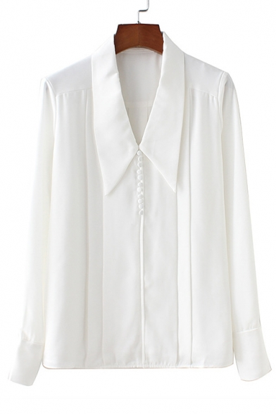 Купить со скидкой Plain Lapel Collar Pleated Detail Button Front Long Sleeve Shirt