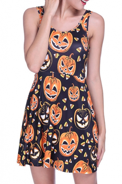 Pumpkin All Over Printed Round Neck Sleeveless Mini A-Line Dress