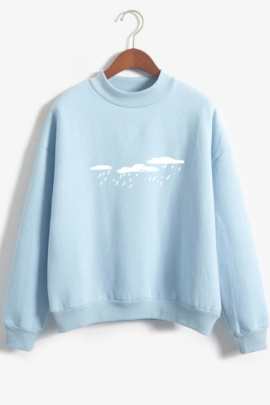 Rainy Cloud Print Mock Neck Long Sleeve Sweatshirt