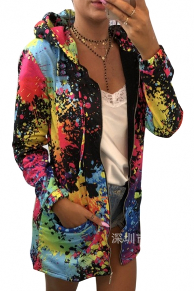 Splatter Painting Long Sleeve Zip Up Hoodie