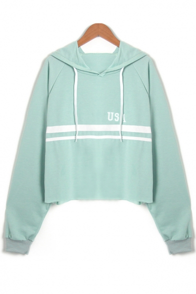 USA Letter Embroidered Contrast Striped Long Sleeve Cropped Hoodie