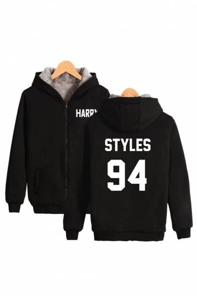 94 STYLES Letter Printed Long Sleeve Fur-Lined Zip Up Hoodie