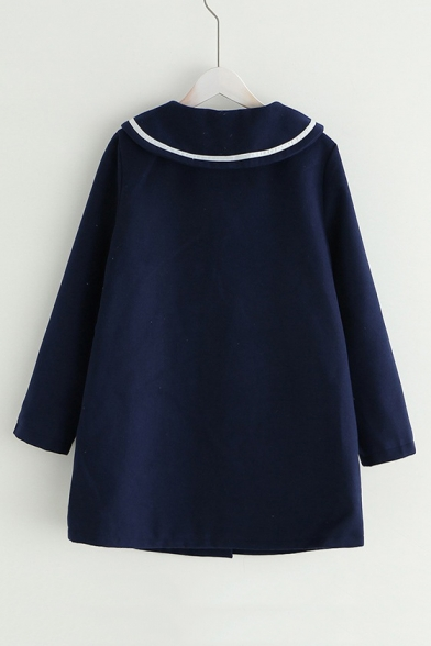 Cat Embroidered Sailor Collar Button Front Long Sleeve Coat