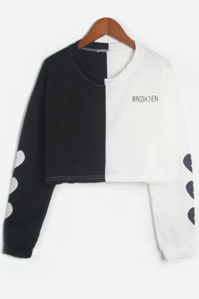 Letter Broken Heart Print Color Block Round Neck Long Sleeve Cropped Sweatshirt