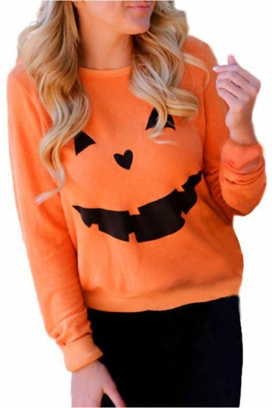 Pumpkin Print Round Neck Long Sleeve Pullover Sweatshirt