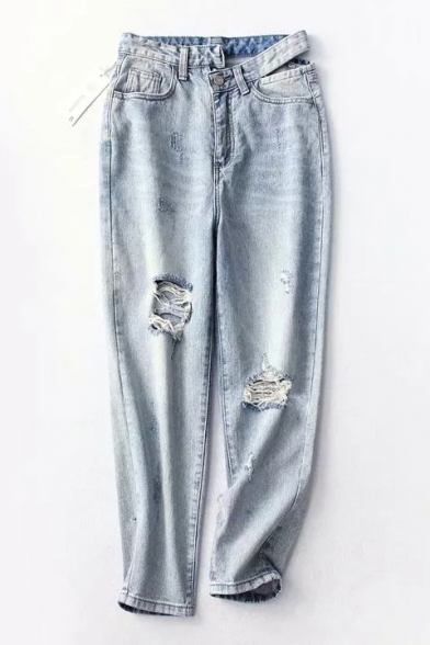 Retro Ripped Detail Asymmetric Waist Loose Cropped Jeans