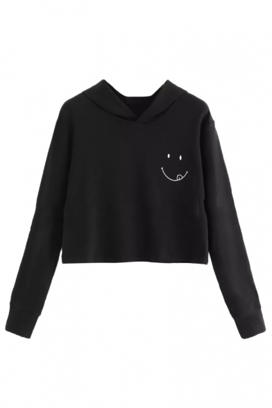 Smile Face Printed Casual Long Sleeve Cropped Hoodie, LC483466, Black;white;yellow