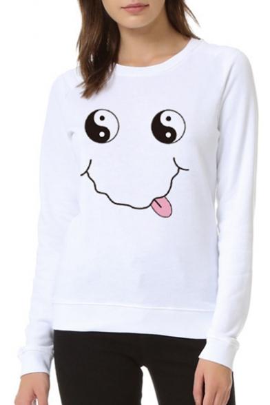 Tai Chi Smile Face Print Round Neck Long Sleeve Sweatshirt
