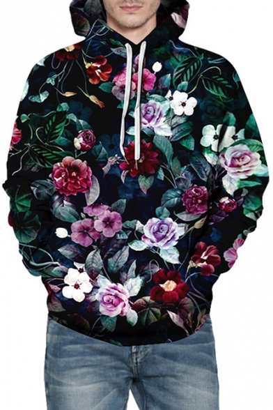 3D Floral All Over Print Long Sleeve Unisex Hoodie