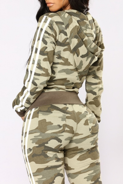 Camouflage Contrast Striped Side Long Sleeve Zip Up Hoodie with Skinny Pants Sports Co-ords