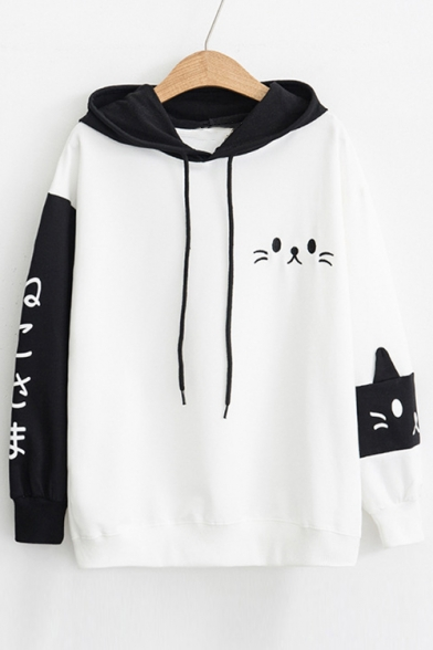 Color Block Japanese Cat Embroidered Long Sleeve Casual Hoodie
