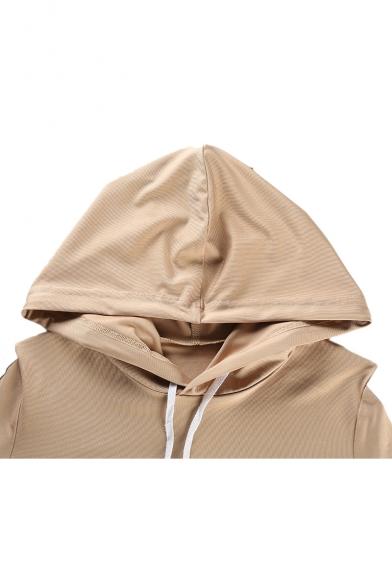 Color Block Long Sleeve Crop Hoodie with High Waist Skinny Pants Co-ords