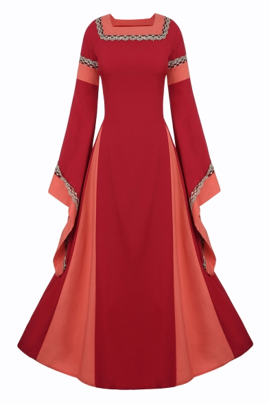 Color Block Square Neck Flare Long Sleeve Retro Maxi A-Line Dress