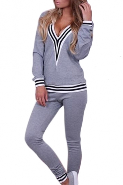 Contrast Striped V Neck Long Sleeve Leisure Top with Skinny Pants Co-ords
